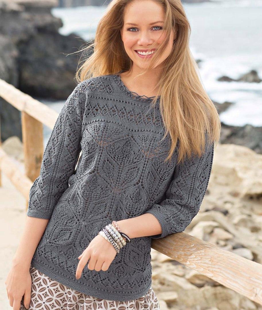 Пуловер с ажурными узорами 98